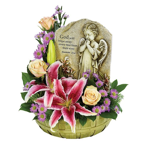 Praying Angel basket of flowers (BF331-11KM)